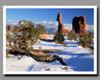 Snow surrounds Balanced Rock in Arches National Park, Utah.