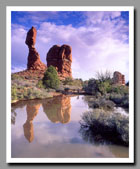 Balanced Rock reflects brilliantly in a pool left by recent rain showers in Arches National Park, Utah.