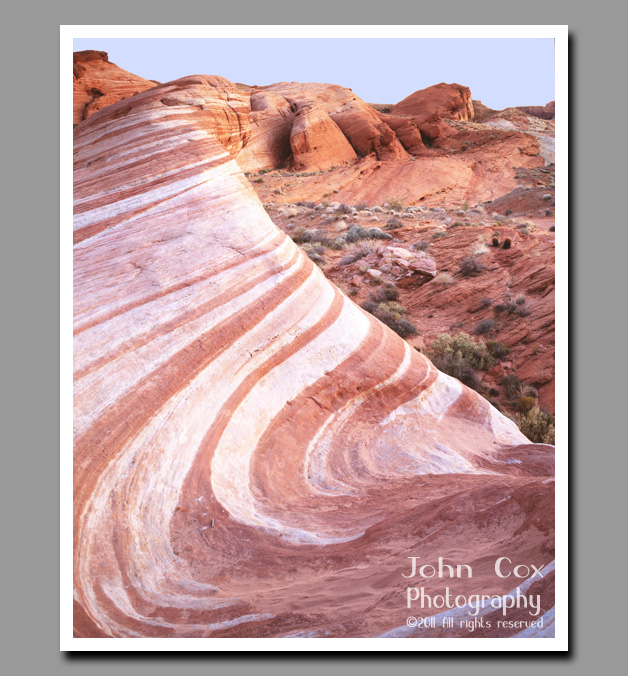 Petrified sands form a wave of pink and white swirls in Valley of Fire State Park, Nevada.
