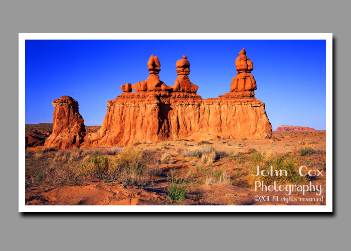 The three judges rock formation sits in Goblin Valley State Park in Utah.